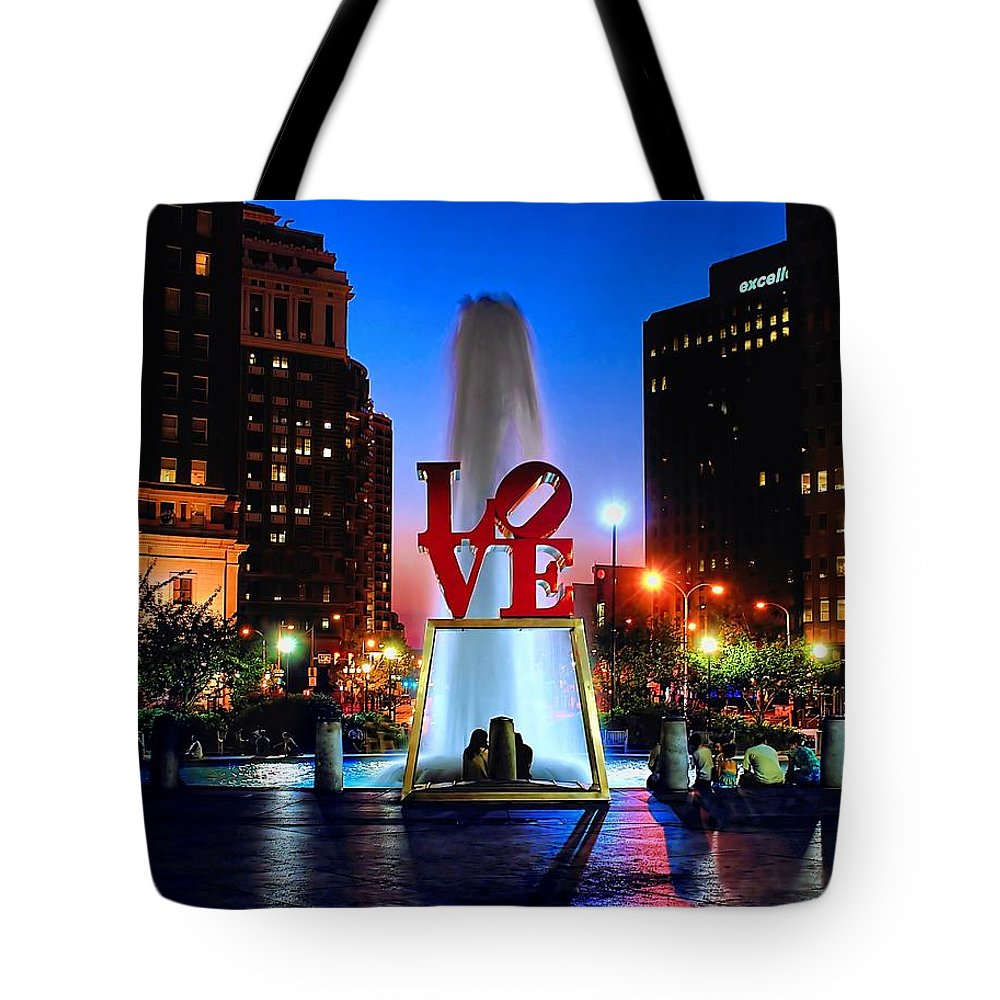 America Tote Bag featuring the photograph Love At Night by Nick Zelinsky