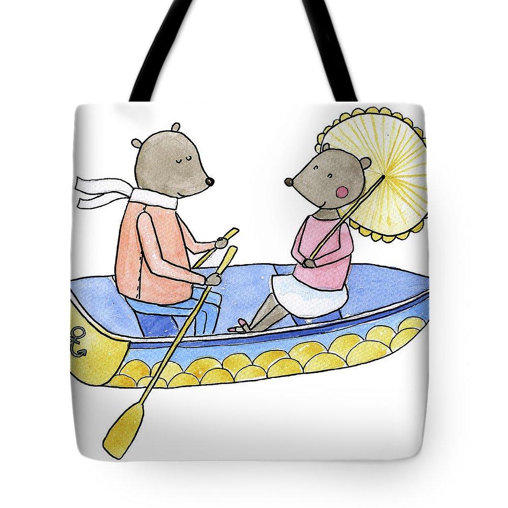 Bridegroom Tote Bag featuring the digital art Love Boat Watercolor Illustration by Kili-kili