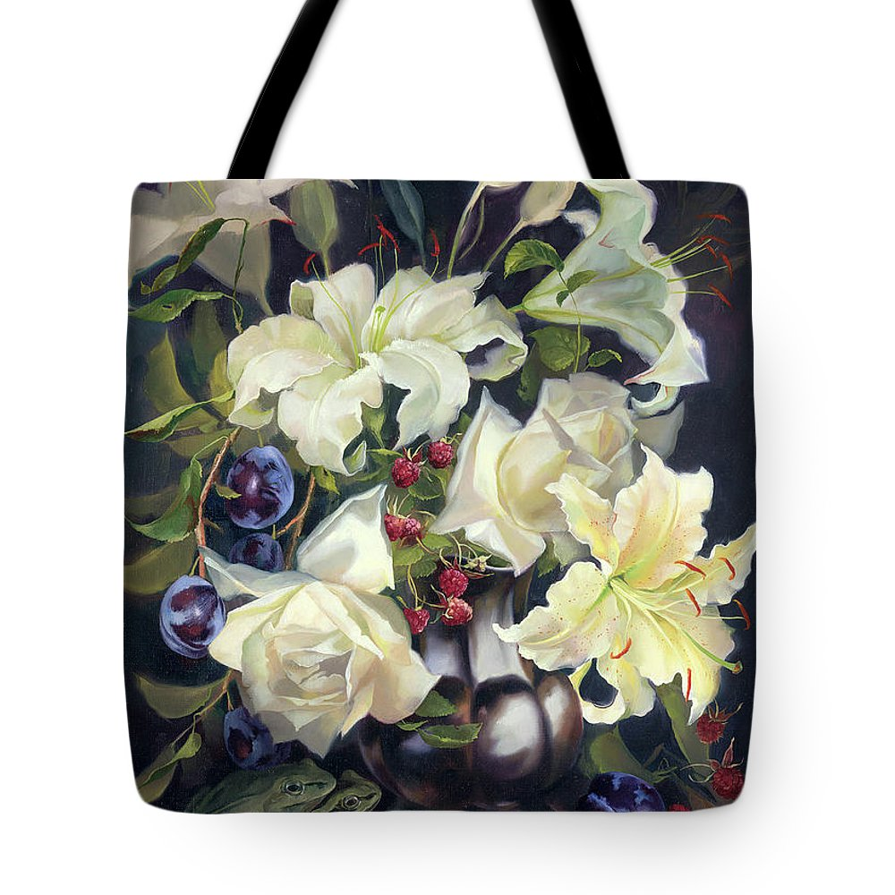Floral Tote Bag featuring the painting Love By The Moon 2 by Iva Rom-Lorenz