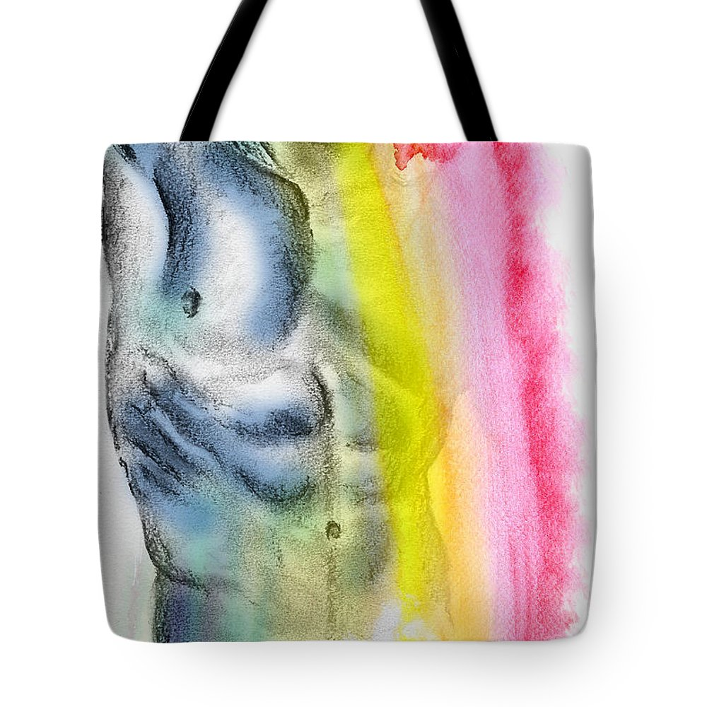 Male Nude Art Tote Bag featuring the painting Love Colors - 4 by Mark Ashkenazi