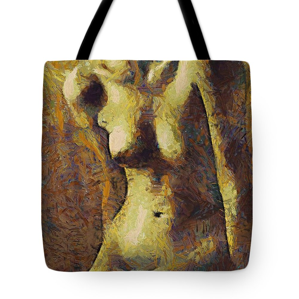 Nude Tote Bag featuring the painting Love Curves by Dragica Micki Fortuna