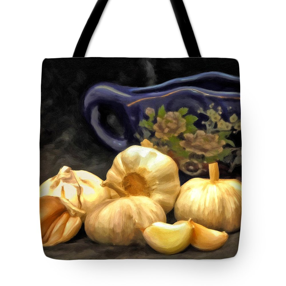 Garlic Tote Bag featuring the painting Love For Garlic by Michael Pickett