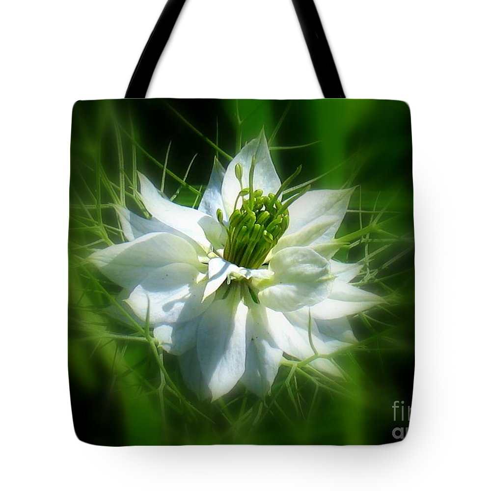 Love In A Mist Tote Bag featuring the photograph Love In A Mist by Patti Whitten
