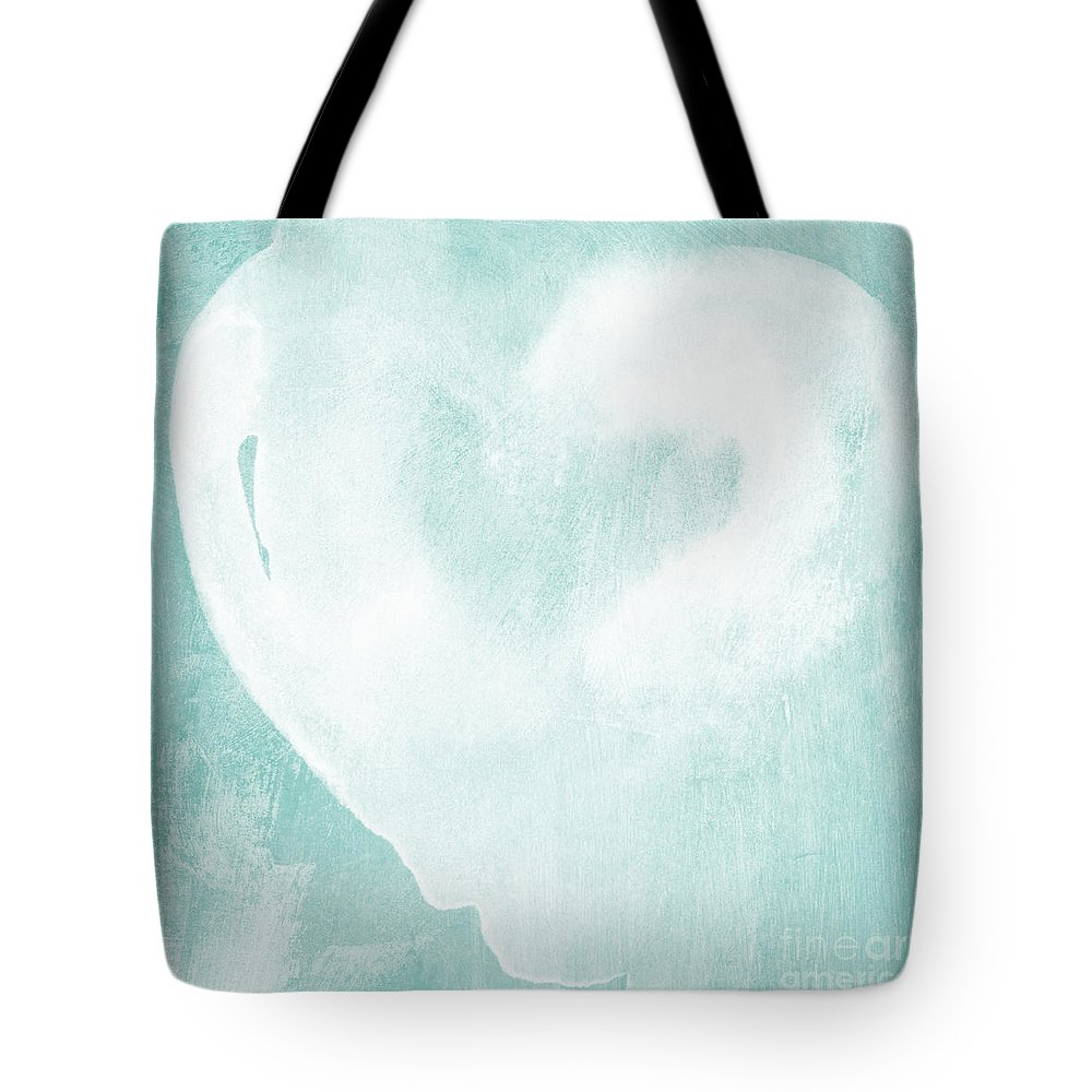 Love Tote Bag featuring the mixed media Love In Aqua by Linda Woods
