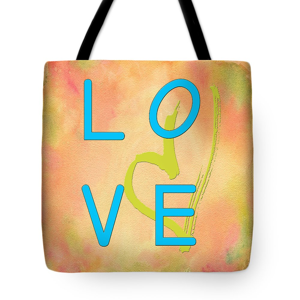 Digital Art Tote Bag featuring the digital art Love In Bright Blue by Paulette B Wright