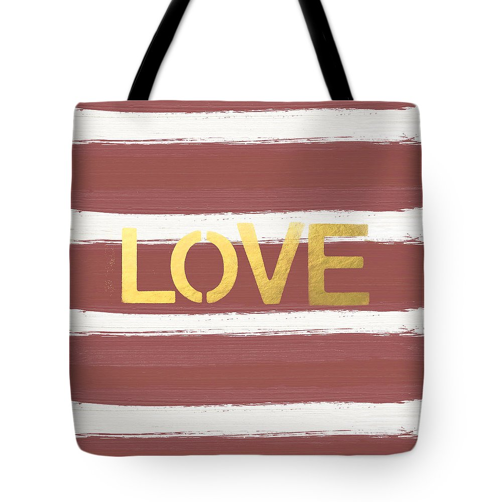 Stripes Tote Bag featuring the painting Love in Gold and Marsala by Linda Woods