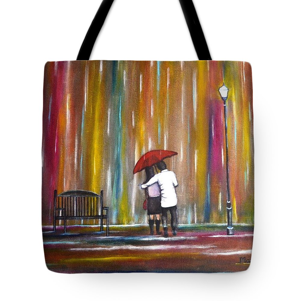 Romance Tote Bag featuring the photograph Love in the Rain by Manjiri Kanvinde