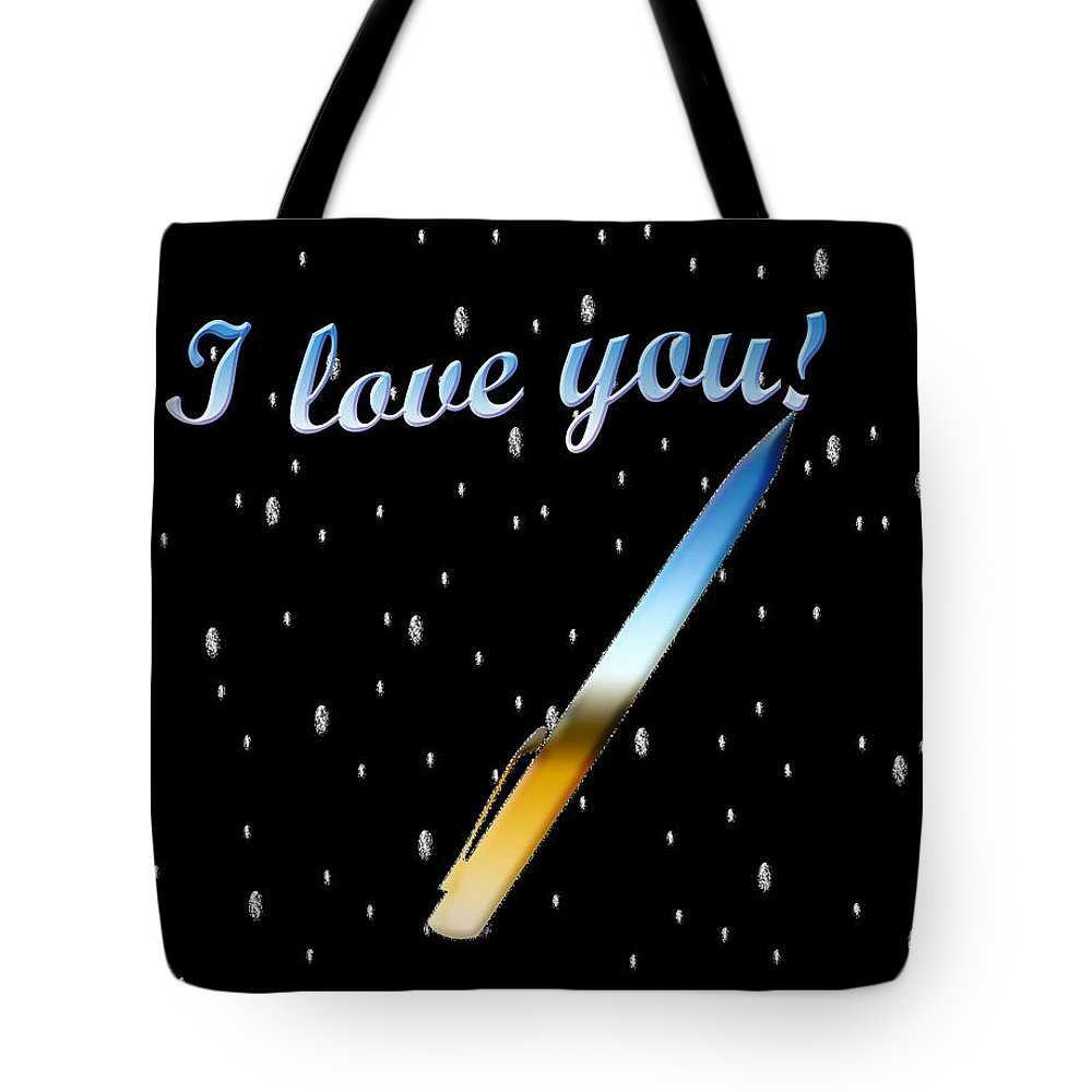 I Love You Text Tote Bag featuring the painting Love Message Digital Painting by Georgeta Blanaru