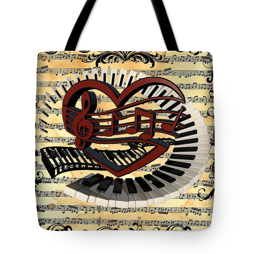 Piano Keys  Tote Bag featuring the digital art Love Of Music by Louis Ferreira