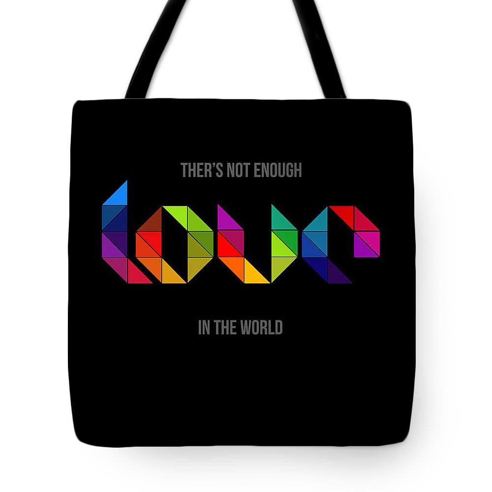 Motivational Tote Bag featuring the digital art Love Poster 2 by Naxart Studio