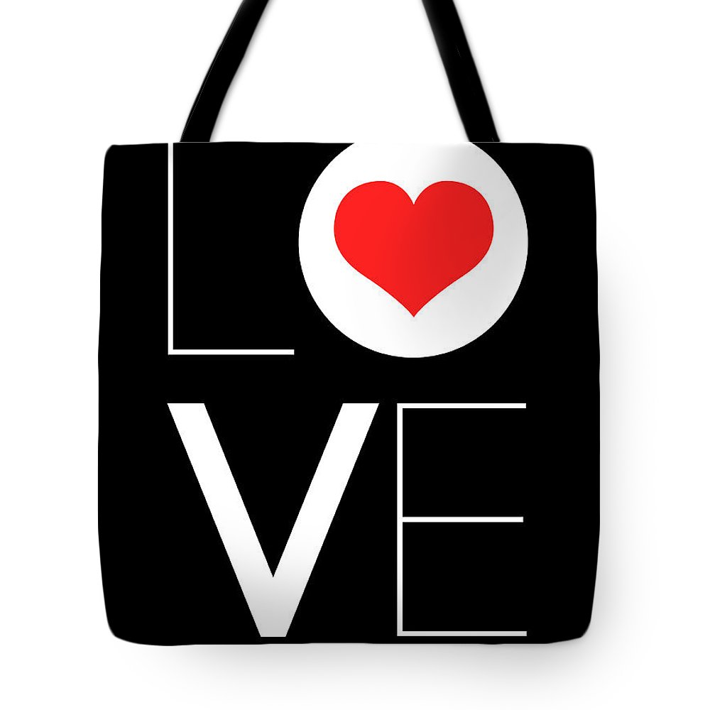 Red Heart Tote Bag featuring the digital art Love Poster 7 by Naxart Studio