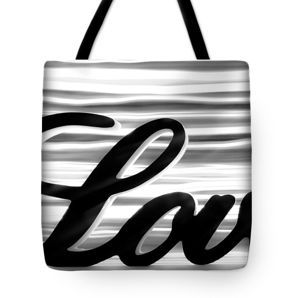 Love Tote Bag featuring the photograph Love Sign With Black And White Stripes by Simon Bratt Photography LRPS