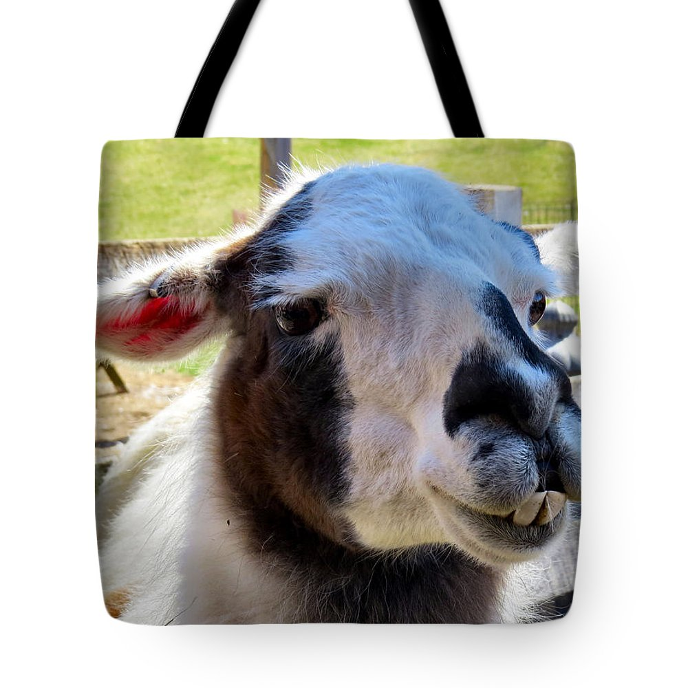 Alpaca Tote Bag featuring the photograph Love Struck by Art Dingo