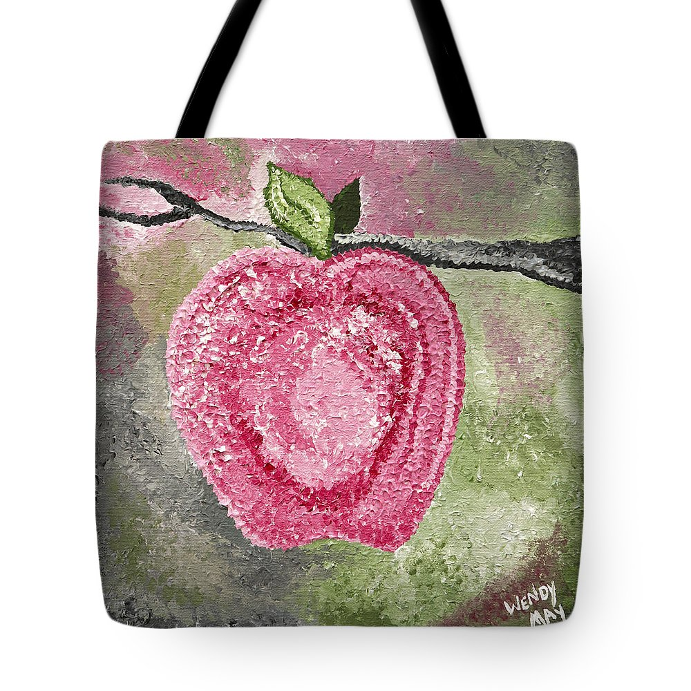 Apple Tote Bag featuring the painting Love To Bloom - Winchester Series by Wendy May