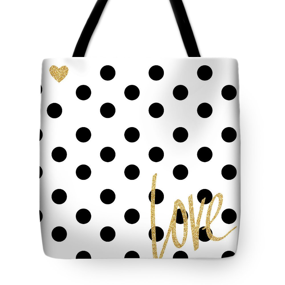 Love Tote Bag featuring the digital art Love With Dots by South Social Studio