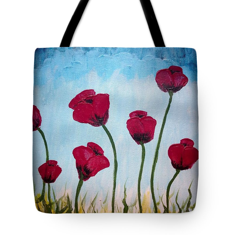 Poppies Tote Bag featuring the painting Lovely Poppies by KarishmaticArt -Karishma Desai