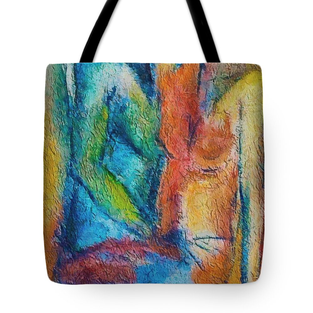 Mixed Media Tote Bag featuring the painting Lovers by Dragica Micki Fortuna