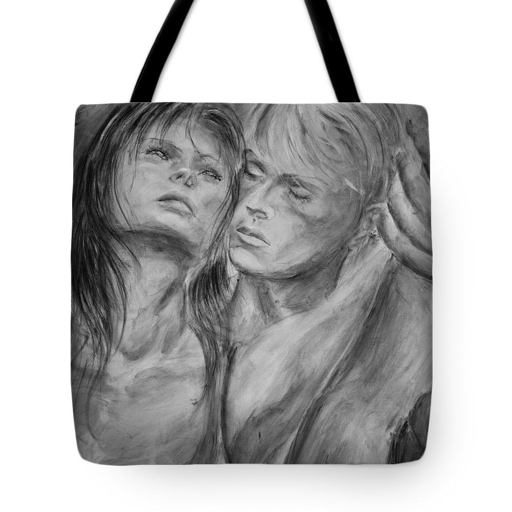 Lovers Tote Bag featuring the painting Lovers In Mono 02 by Nik Helbig