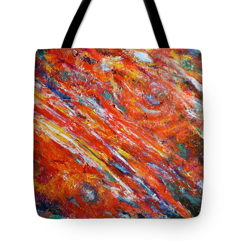 Abstract Tote Bag featuring the painting Loves Fire by Michael Durst