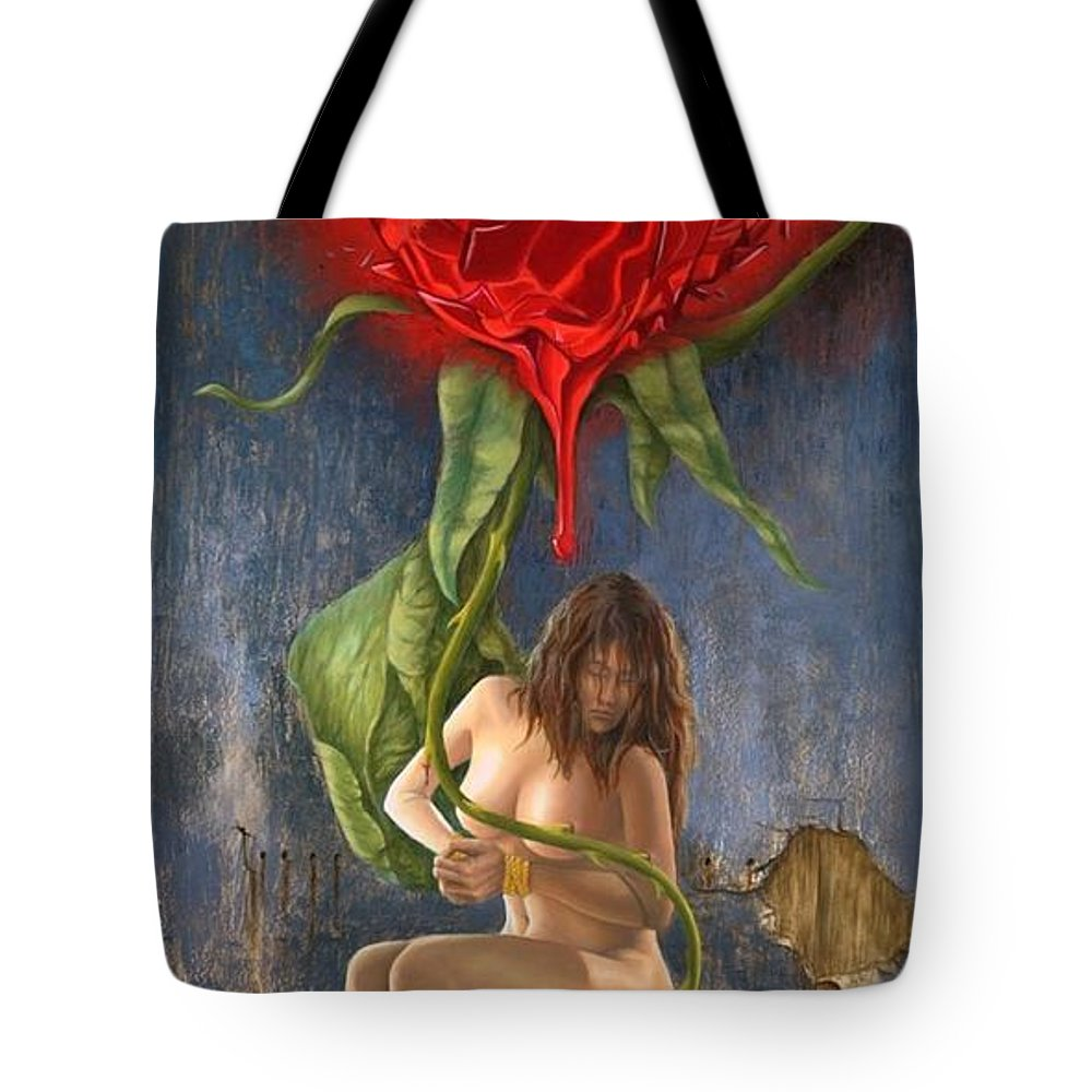 Narrative Tote Bag featuring the painting Love's Pain by Santiago Perez