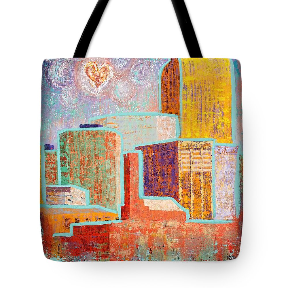 Cityscape Tote Bag featuring the painting Loving It In Denver by Margaret Bobb