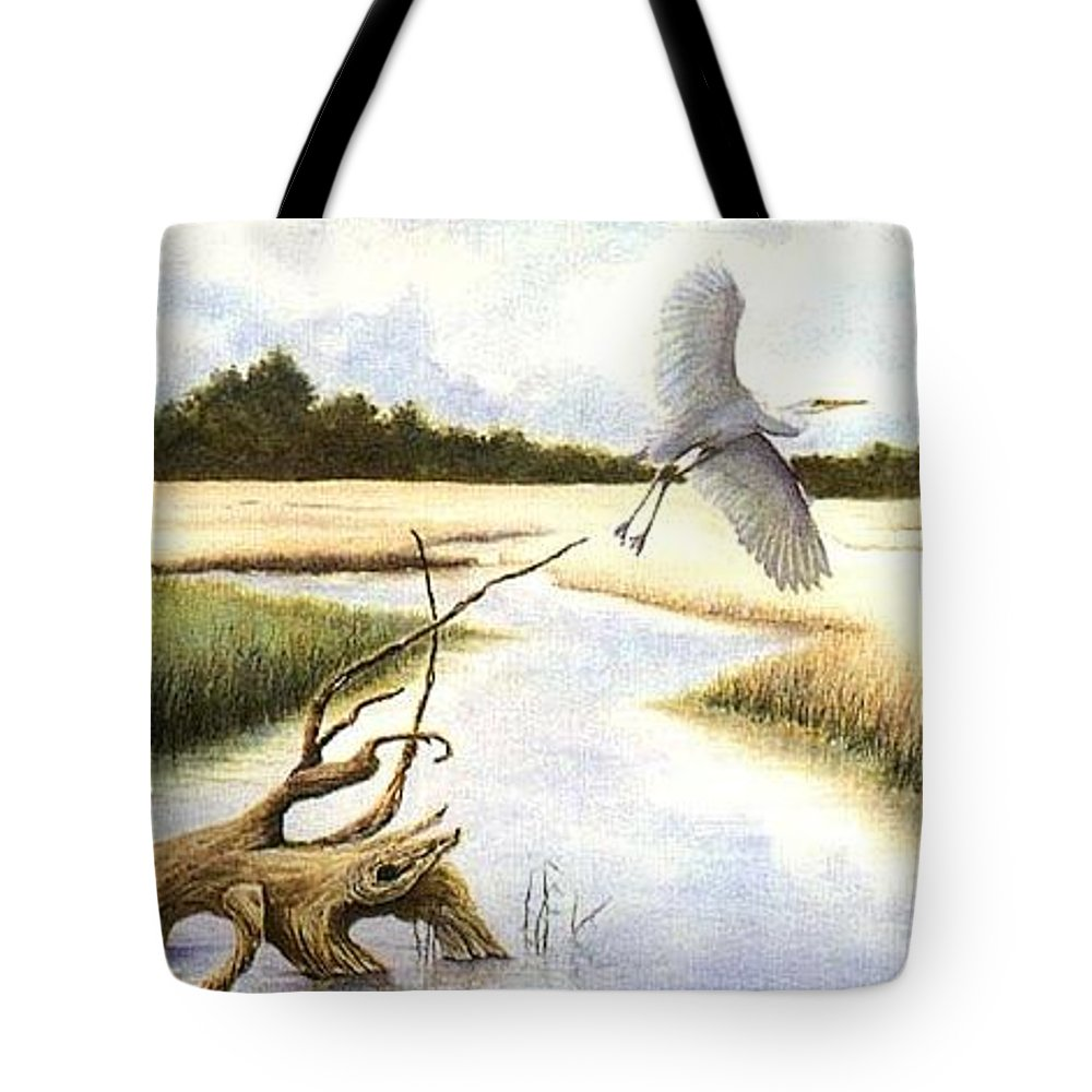 Egret Tote Bag featuring the painting Low Country Marsh by Ben Kiger