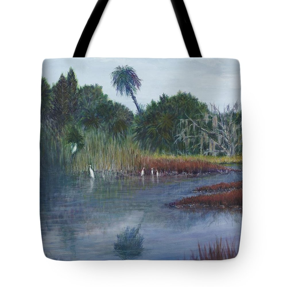 Landscape Tote Bag featuring the painting Low Country Social by Ben Kiger