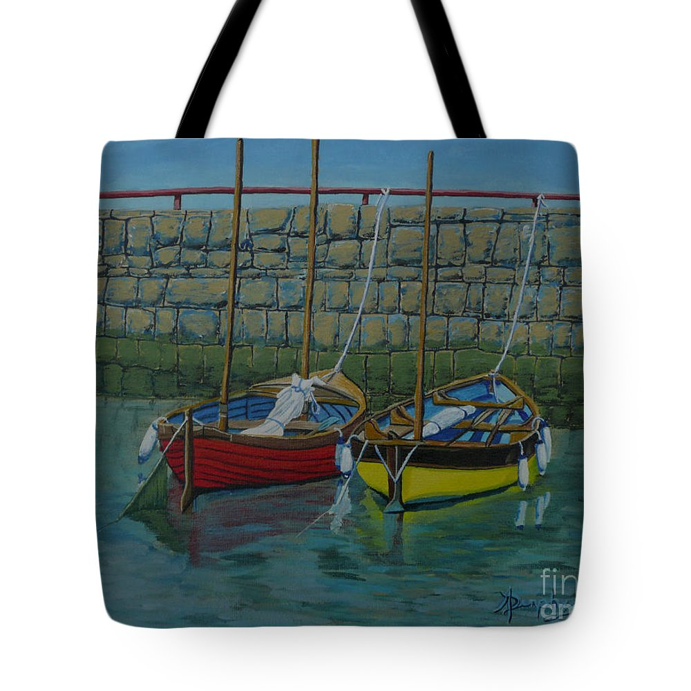 Rock Tote Bag featuring the painting Low Tide by Anthony Dunphy