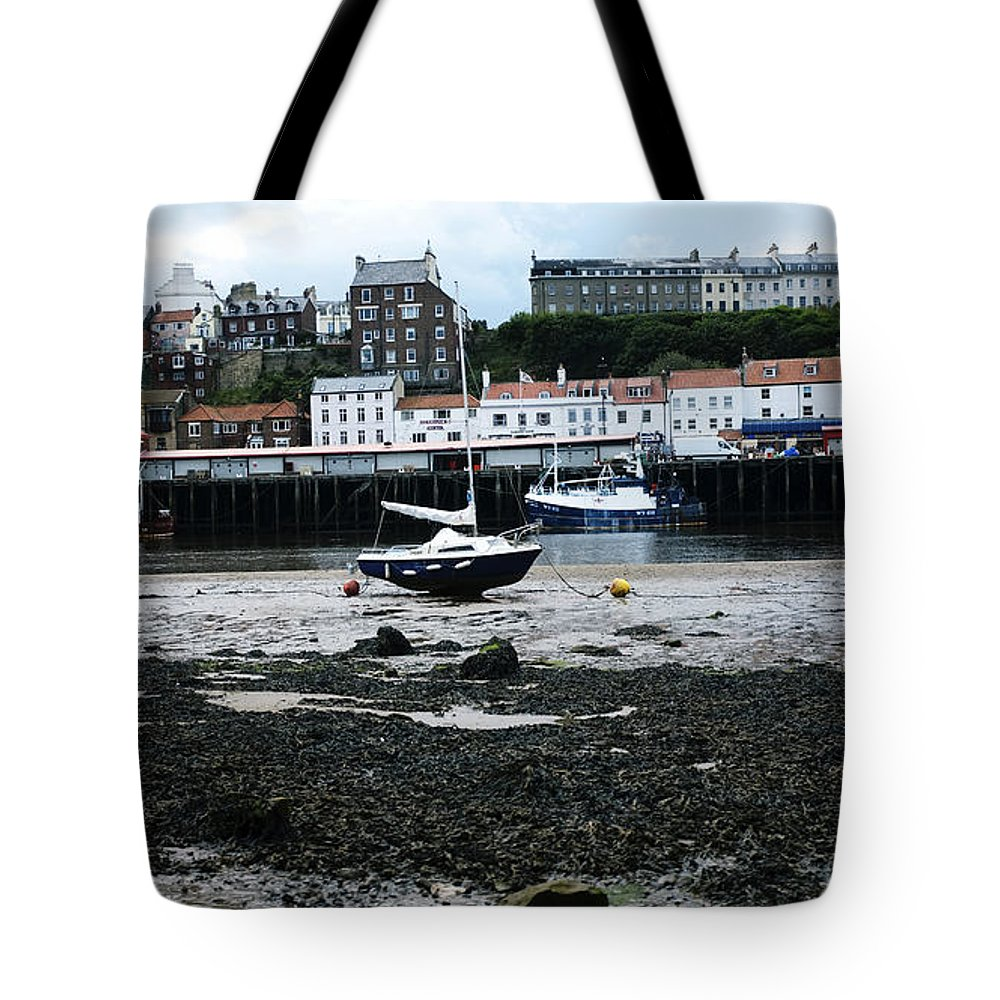 Uk Tote Bag featuring the photograph Low Tide Whitby by Christopher Rees