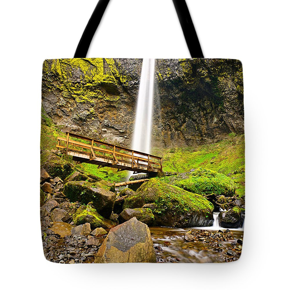 Elowah Falls Tote Bag featuring the photograph Lower Angle Of Elowah Falls In The Columbia River Gorge Of Oregon by Jamie Pham