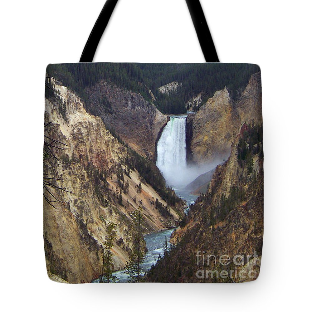 Lower Falls Tote Bag featuring the photograph Lower Falls Of The Yellowstone River by Charles Robinson