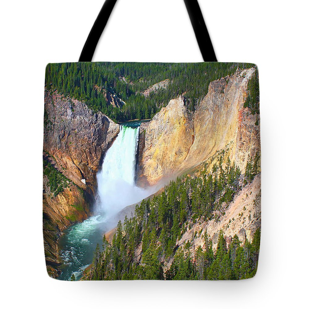 Falls Tote Bag featuring the photograph Lower Falls Yellowstone 2 by Teresa Zieba