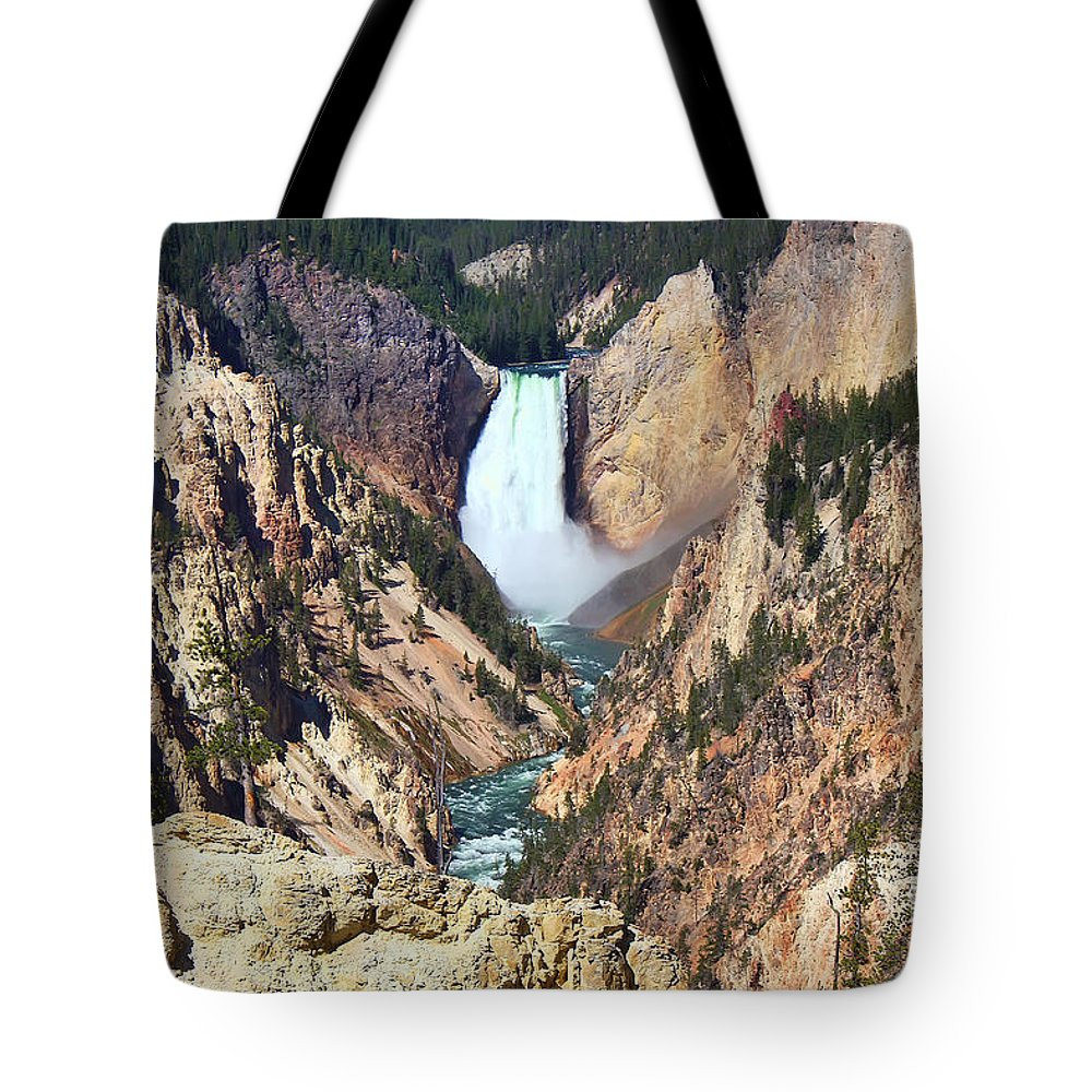 Falls Tote Bag featuring the photograph Lower Falls Yellowstone by Teresa Zieba