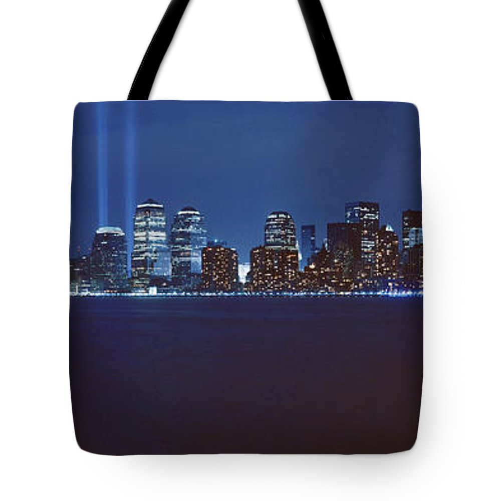 Photography Tote Bag featuring the photograph Lower Manhattan, Beams Of Light, Nyc by Panoramic Images
