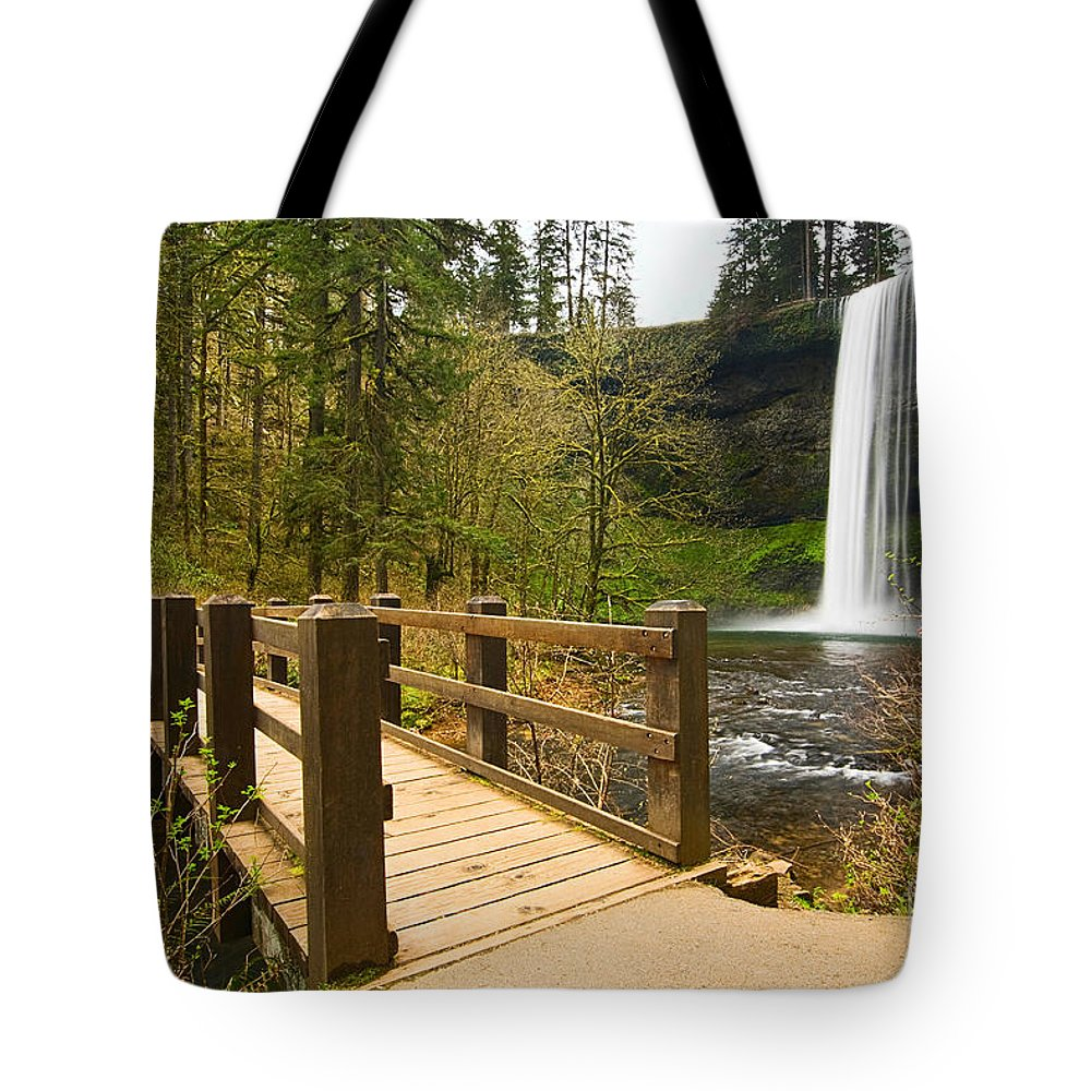 Lower South Falls Tote Bag featuring the photograph Lower South Waterfall With Footbridge In Oregon Columbia River Gorge. by Jamie Pham