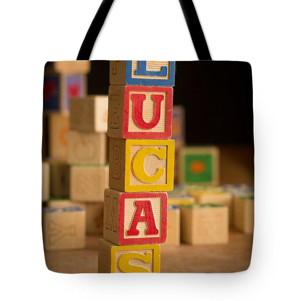 Alphabet Tote Bag featuring the photograph Lucas - Alphabet Blocks by Edward Fielding