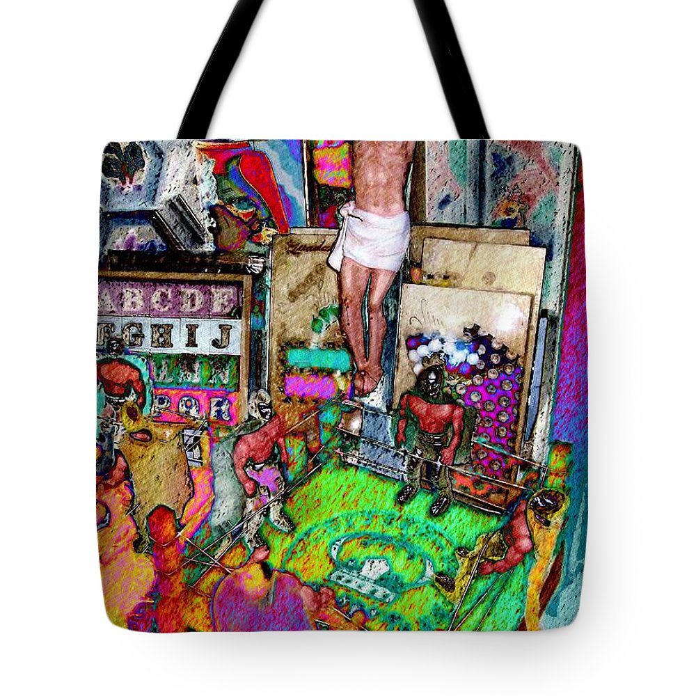 Digital Art Tote Bag featuring the digital art Lucha Toys by Nancy Almazan
