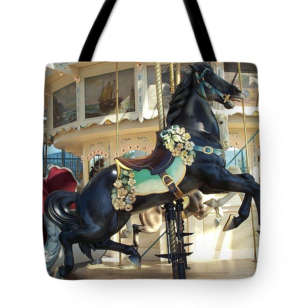Carousel Tote Bag featuring the photograph Lucky Black Pony - Syracuse Ptc No 18 by Barbara McDevitt