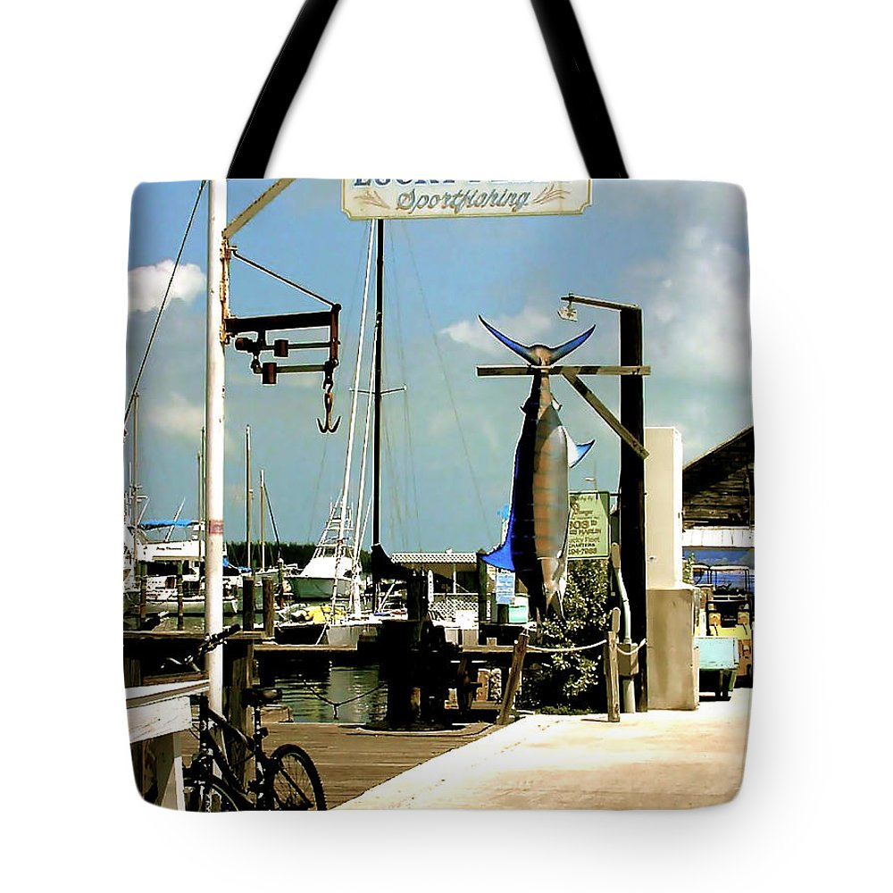 Key West Fishing Tote Bag featuring the painting Lucky Fleet Key West by Iconic Images Art Gallery David Pucciarelli