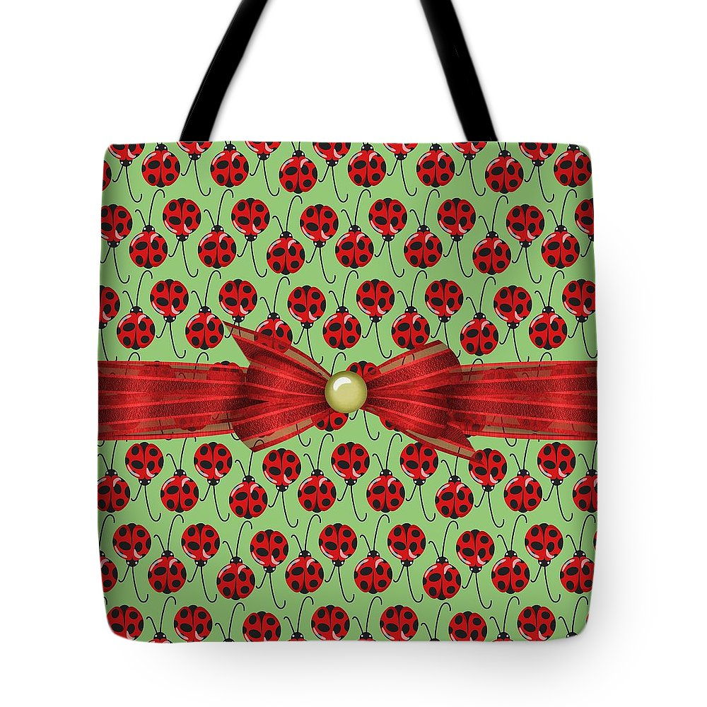 Ladybugs Tote Bag featuring the digital art Lucky Ladybugs by Debra Miller