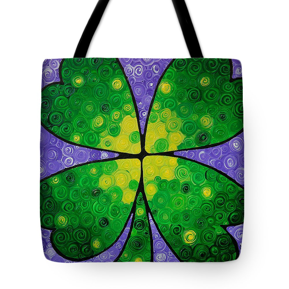 Shamrock Tote Bag featuring the painting Lucky One by Sharon Cummings