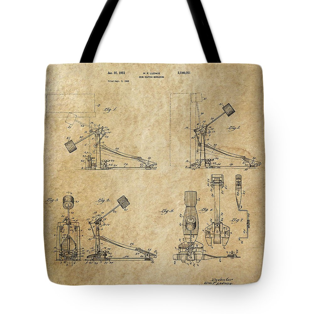 Drums Tote Bag featuring the digital art Ludwig Drum Pedal 3 Patent Art 1951 by Daniel Hagerman