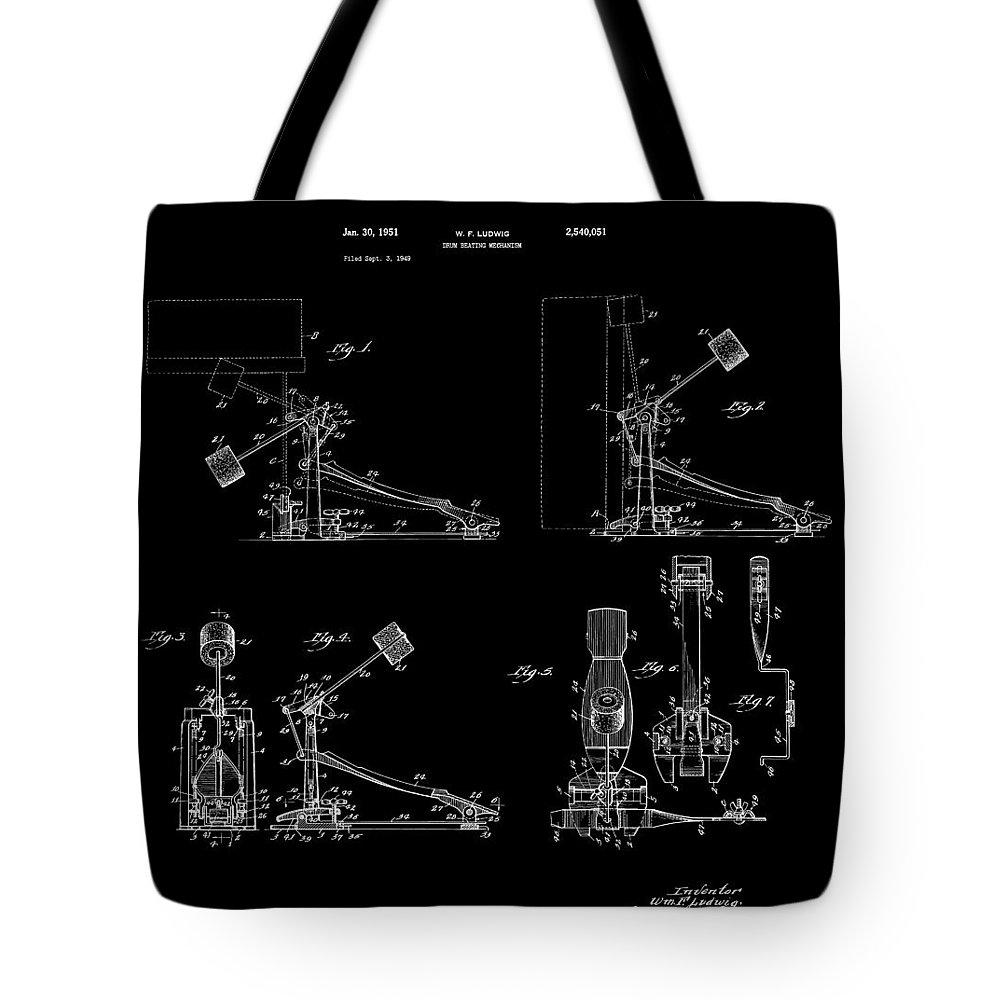 Drums Tote Bag featuring the digital art Ludwig Drum Pedal 4 Patent Art 1951 by Daniel Hagerman