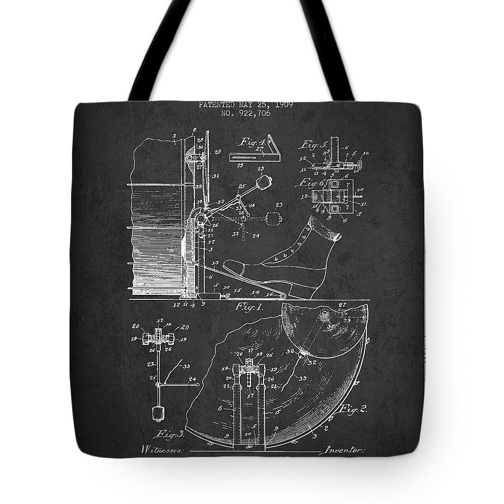 Foot Pedal Tote Bag featuring the digital art Ludwig Foot Pedal Patent Drawing From 1909 - Dark by Aged Pixel