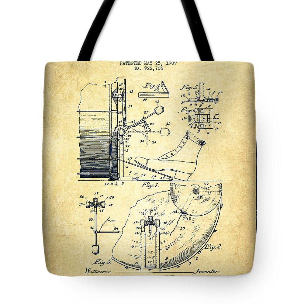Foot Pedal Tote Bag featuring the digital art Ludwig Foot Pedal Patent Drawing From 1909 - Vintage by Aged Pixel