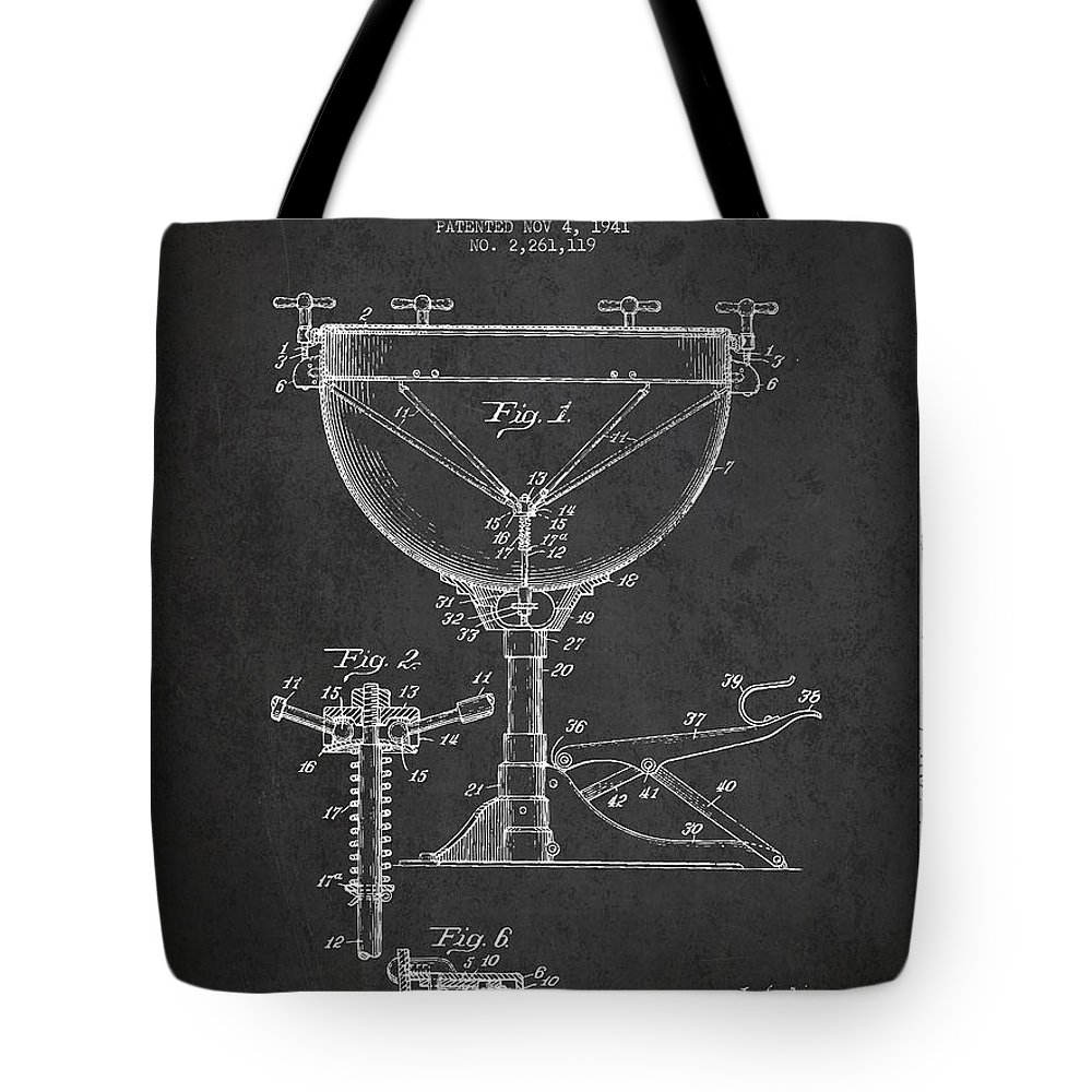 Kettle Drum Tote Bag featuring the digital art Ludwig Kettle Drum Drum Patent Drawing From 1941 - Dark by Aged Pixel