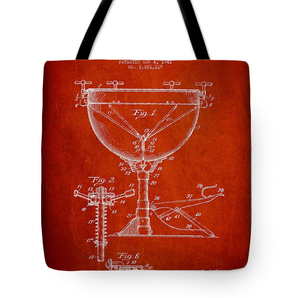 Kettle Drum Tote Bag featuring the digital art Ludwig Kettle Drum Drum Patent Drawing From 1941 - Red by Aged Pixel