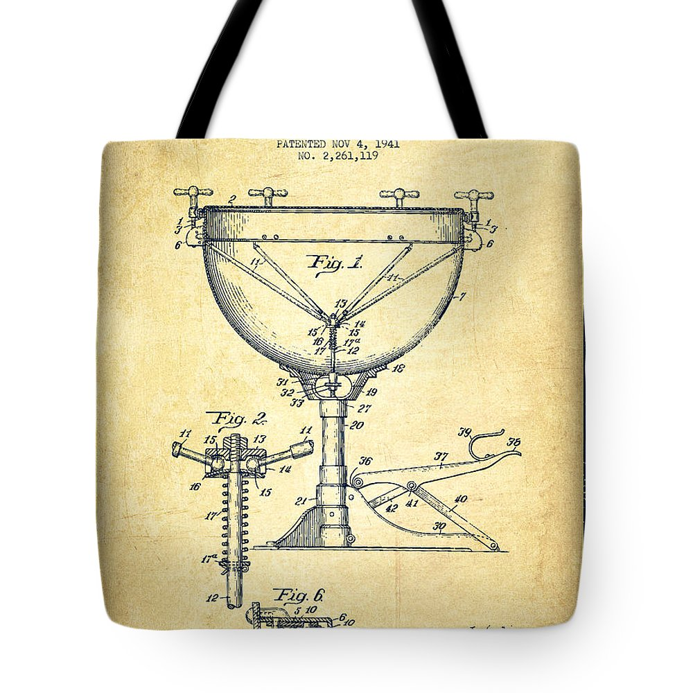 Kettle Drum Tote Bag featuring the digital art Ludwig Kettle Drum Drum Patent Drawing From 1941 - Vintage by Aged Pixel