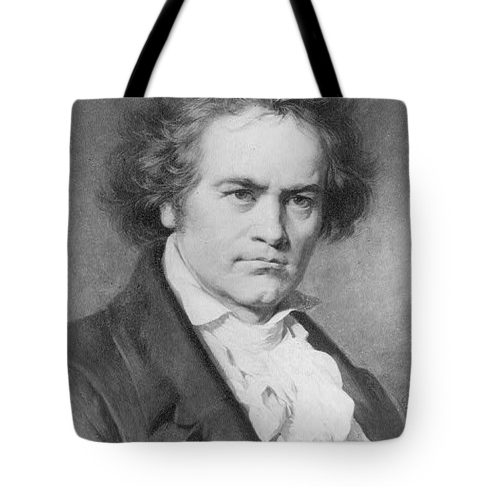 Carl Jaeger Tote Bag featuring the painting Ludwig Van Beethoven by MotionAge Designs