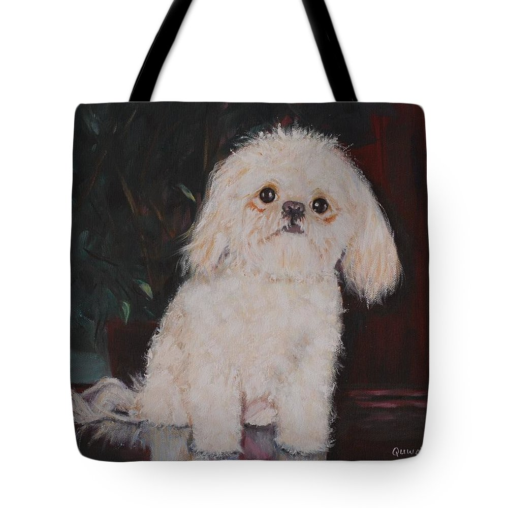 Dog Tote Bag featuring the painting Lulu by Quwatha Valentine
